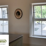 Megrame tilt turn window with white panel
