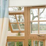 Top hung window with fixed bar