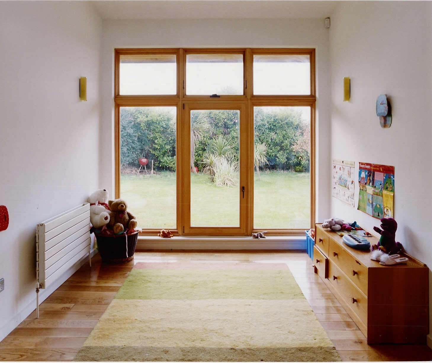 Wooden framed french door with polygons
