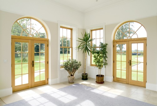Combination french door with arch style top