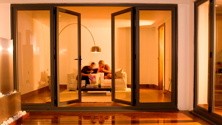 Signature Easifold doors with brown panel