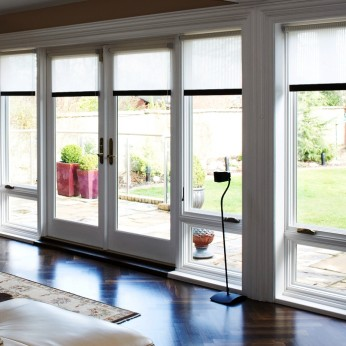 French doors with fixed units for garden entrance