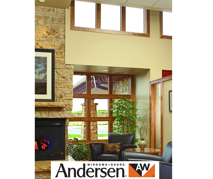 Andersen windows with brown wood panel.