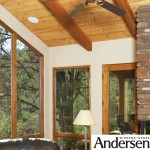 Andersen custom sized window with wood panel