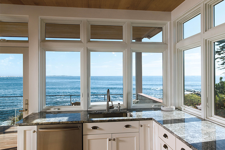 Kitchen Aluminium Clad Wood Casement Windows With White Finish