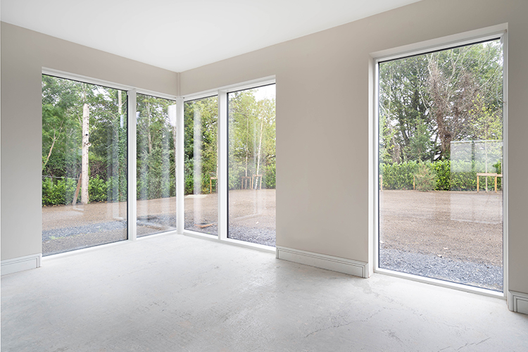 Floor to ceiling windows in luxuries property in Dublin
